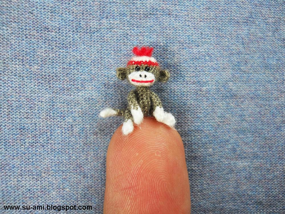 Tiniest Sock Monkey - Baby Sock Monkey - Miniature Sock Monkey - Grey Sock Monkey With Hat - Made to Order
