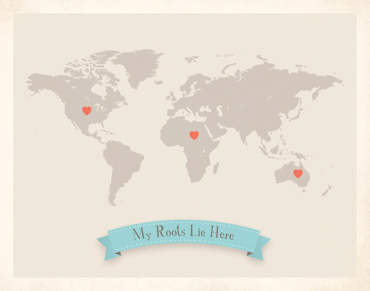 World Roots Map 18x24 Customized Print (Beige)