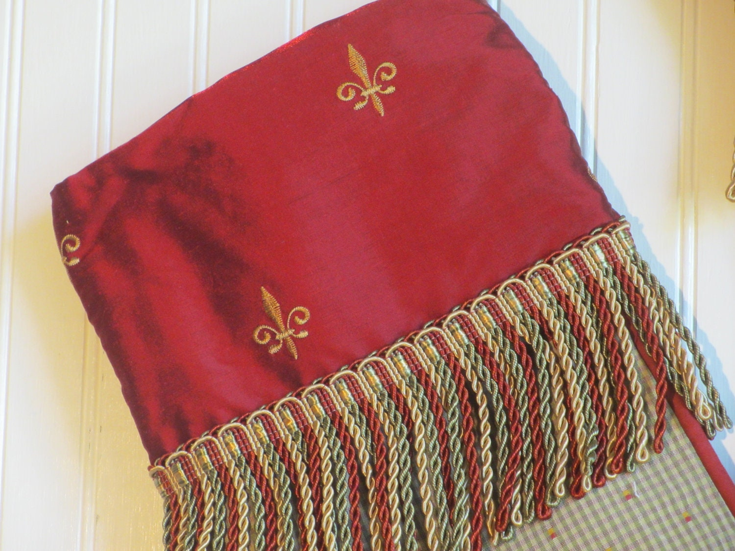 French Christmas Stocking, Fleur de Lis Silk, Red Gold and Green with Luxury Fringe