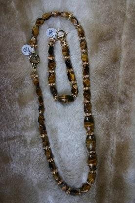 Tigereye Necklace and Bracelet Large Facet Cut
