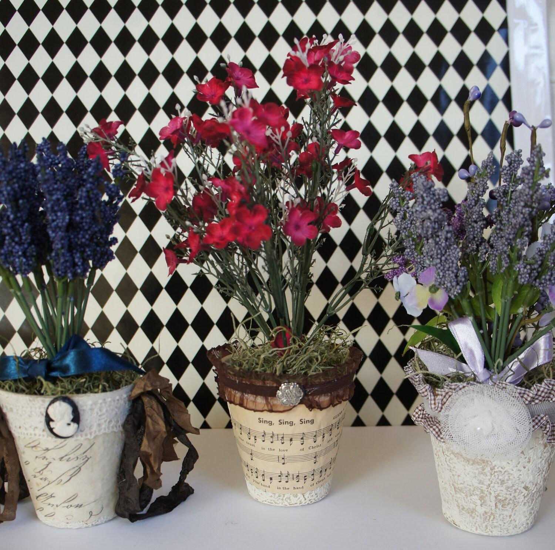 Потертый Chic французского Страна Украшенные цветочный горшок торфа
