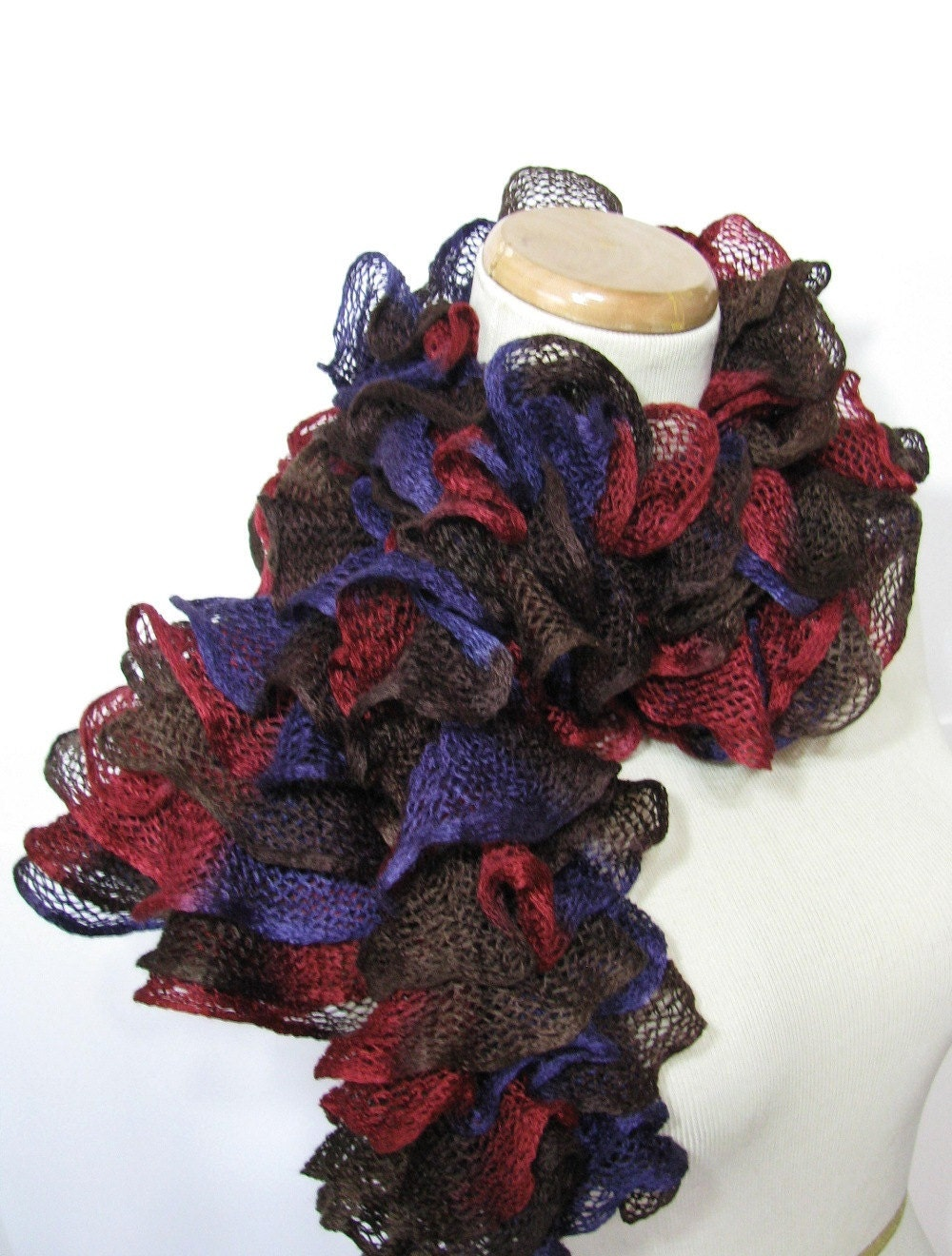 Ruffled Scarf -Red Purple Brown - Hand Knit