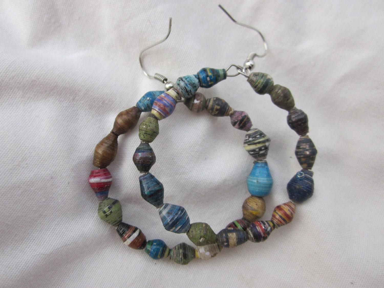 Paper Bead Hoop Earrings