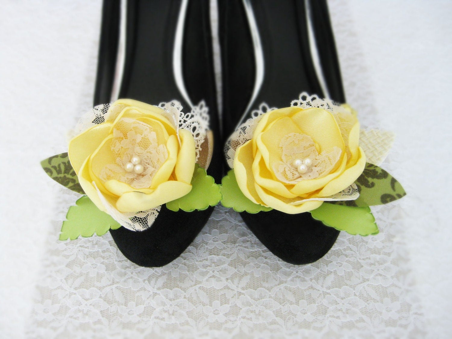 Flower Shoe Clip. Yellow Fabric Flower Shoe Clips. Women Accessory. Flower Accessory. Wedding Accessory.