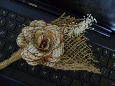 Rustic paper book flower & burlap wedding corsage