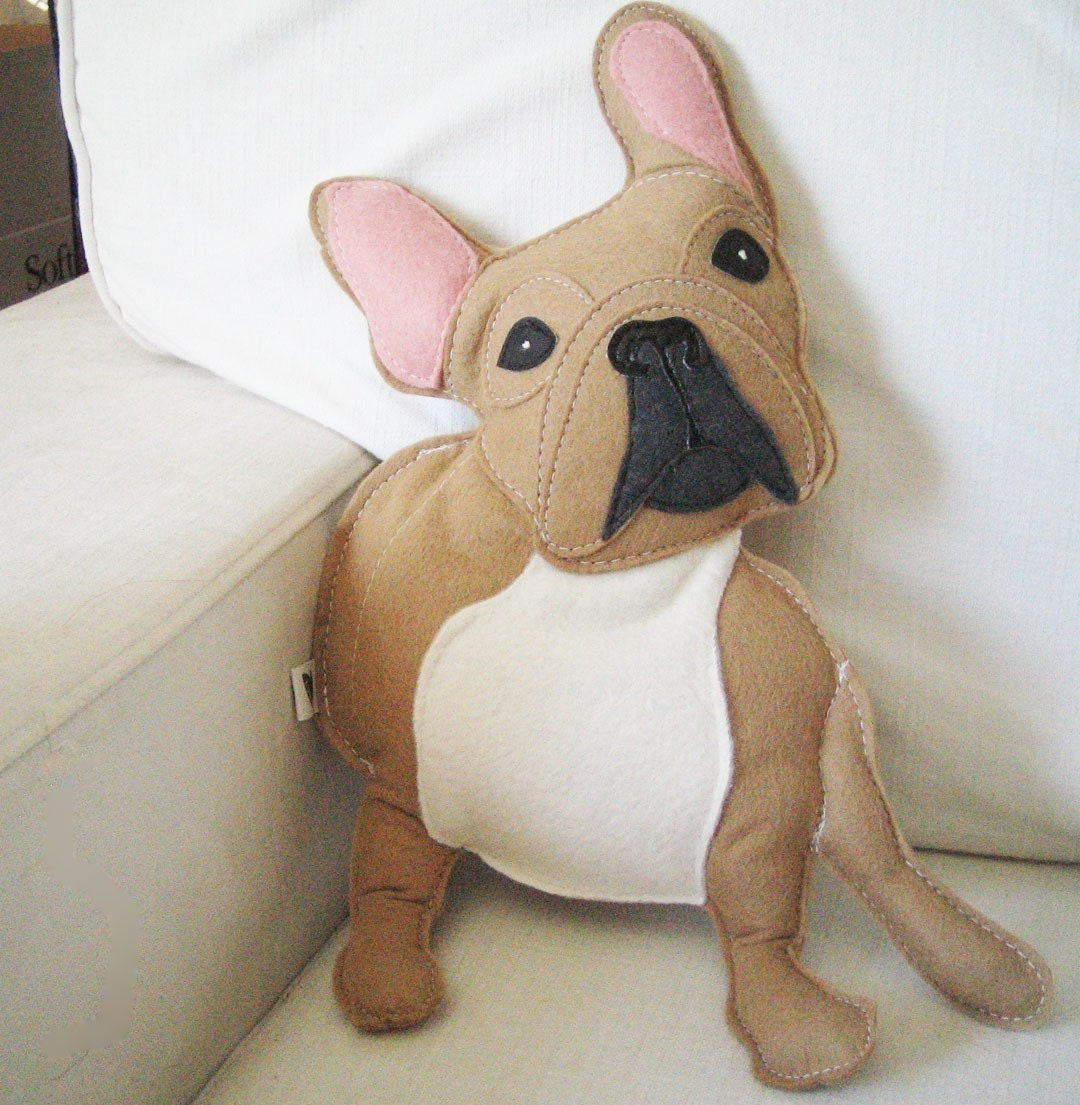 Nuri the French Bulldog Wool Felt Applique Plush Doll Pillow