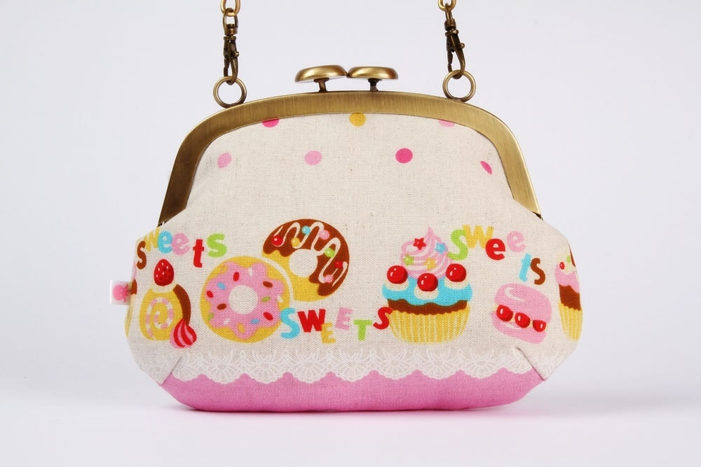Mushroom purse - Yummy sweets in pink - metal frame purse with shoulder strap
