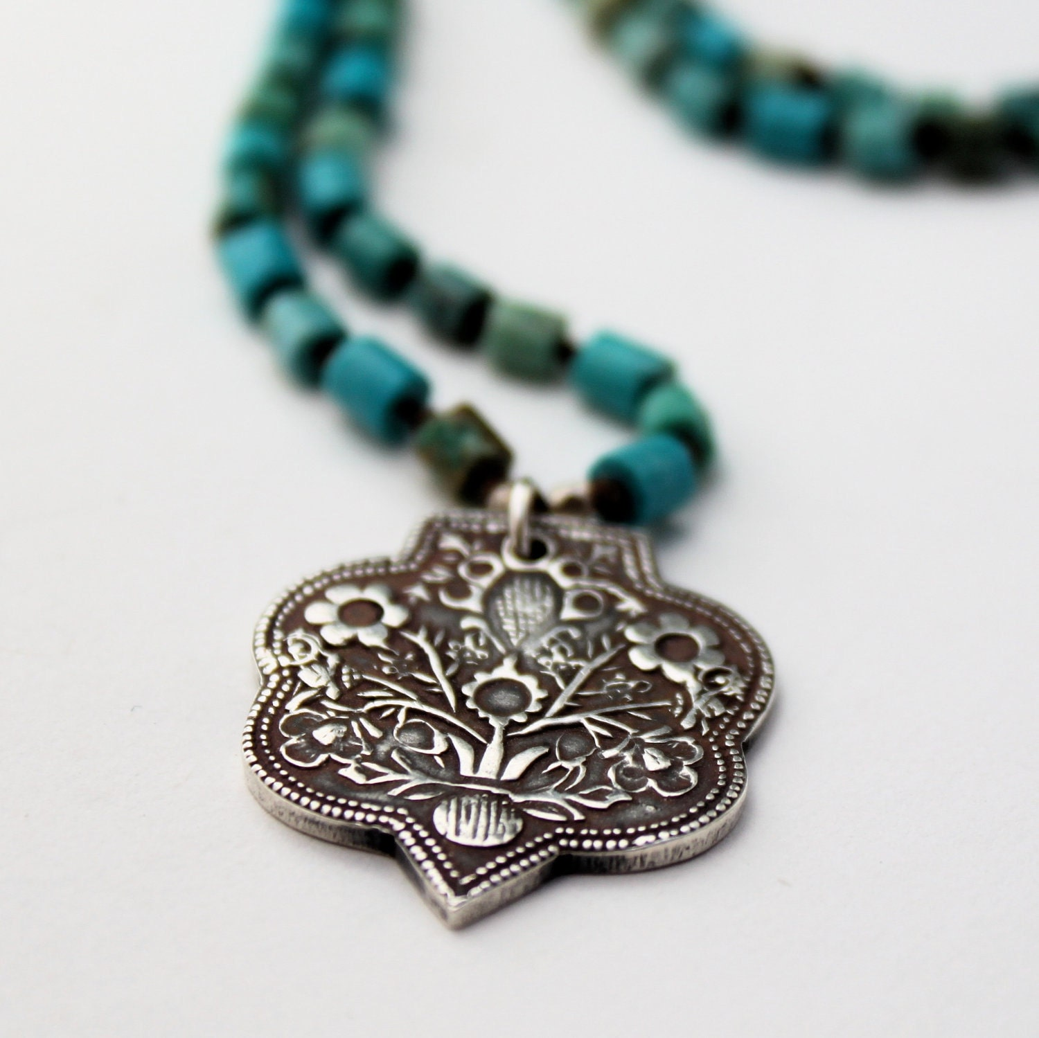 Fine Silver Floral Shield Necklace w/Turquoise - MADE TO ORDER