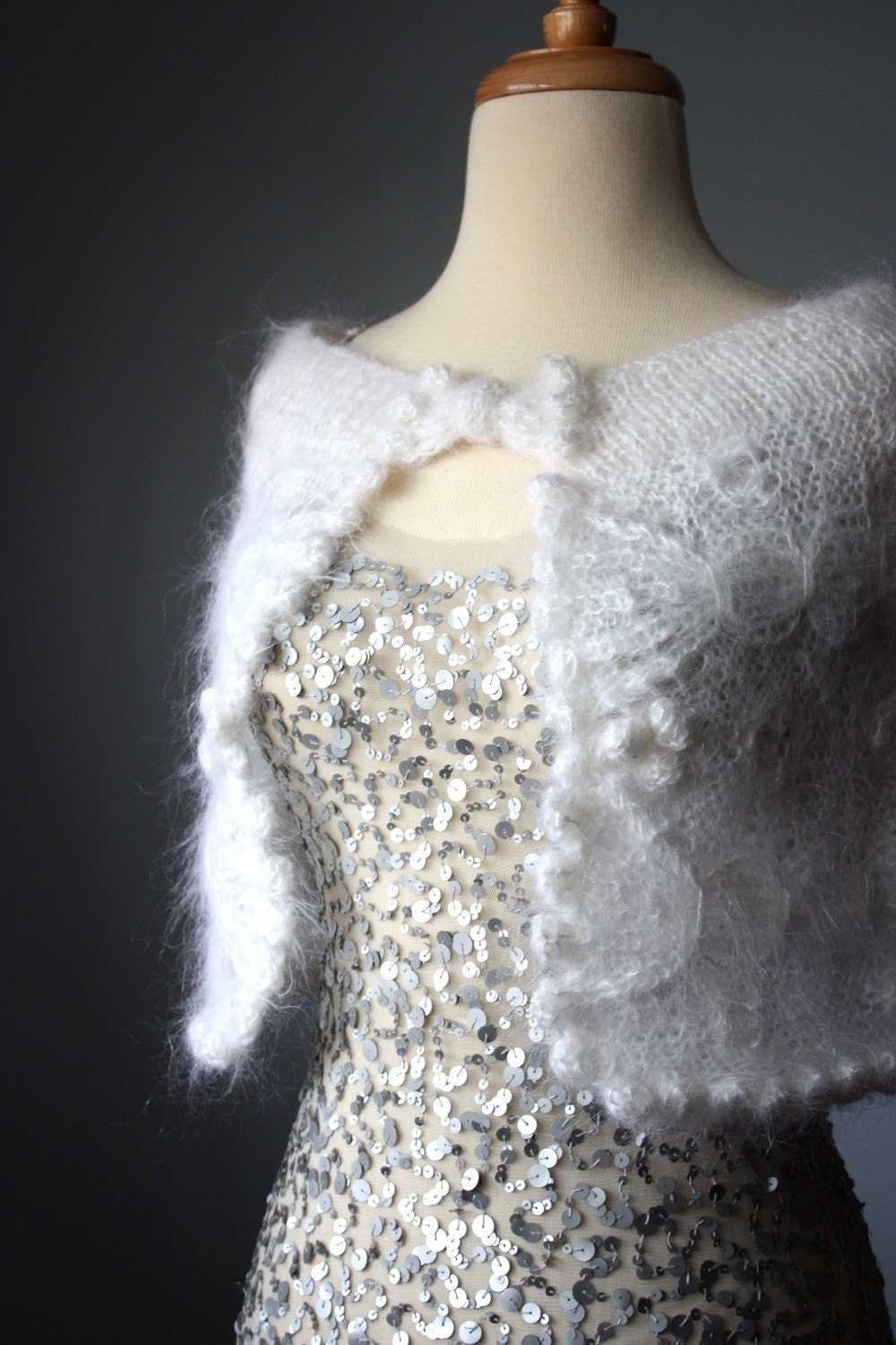 SALE White Mohair capelet