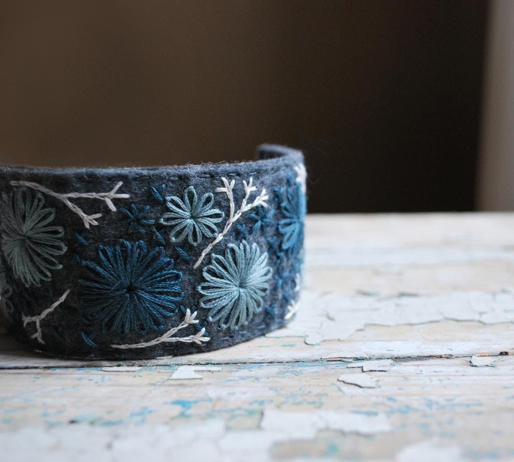 Felt Cuff Bracelet Hand Embroidered Wool with Shades of Blue Stitching by lovemaude - lovemaude