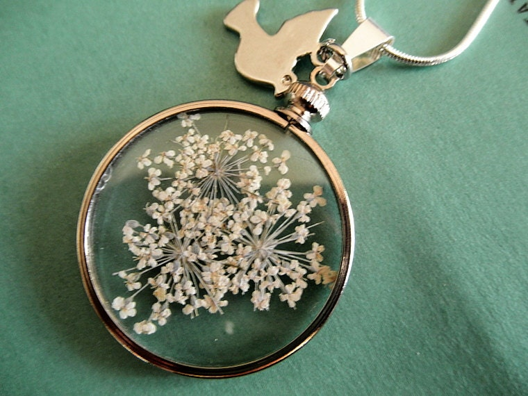 Pendant Of Peace-Queen Anne's Lace Between Glass With Peace Dove Charm Pendant-Symbolizes Peace-3 Options In One Pendant - giftforallseasons