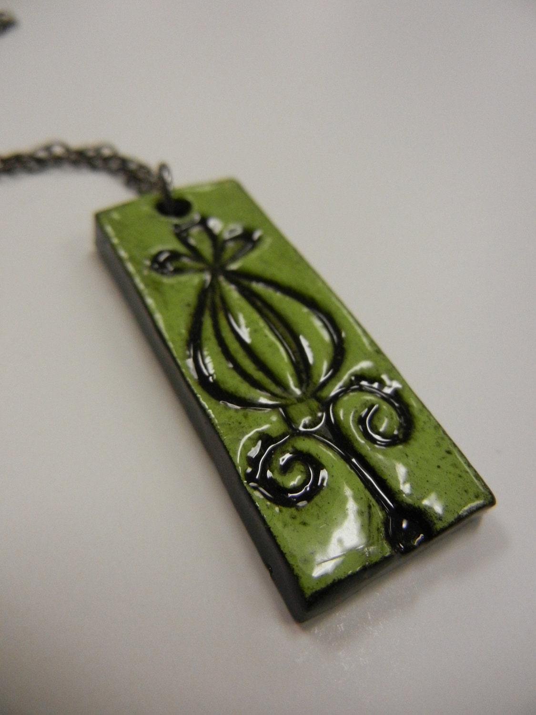 Handmade Ceramic Flower Bud Necklace Pendant Green