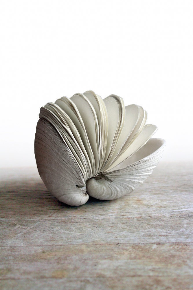 Book of the Sea - Handstitched Clamshell Book Sculpture - Blank Journal