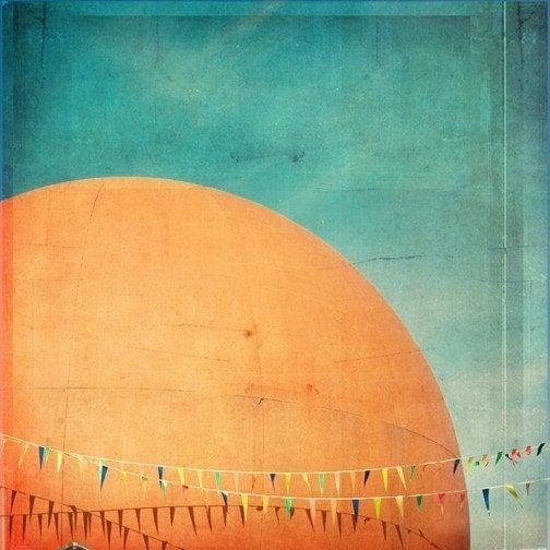 Orange Julep - 11.5x11.5 Original Signed Fine Art Photograph - Montreal Landmark Photograph, orange, blue - janeheller