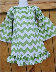 Green Chevron Personalized Dress