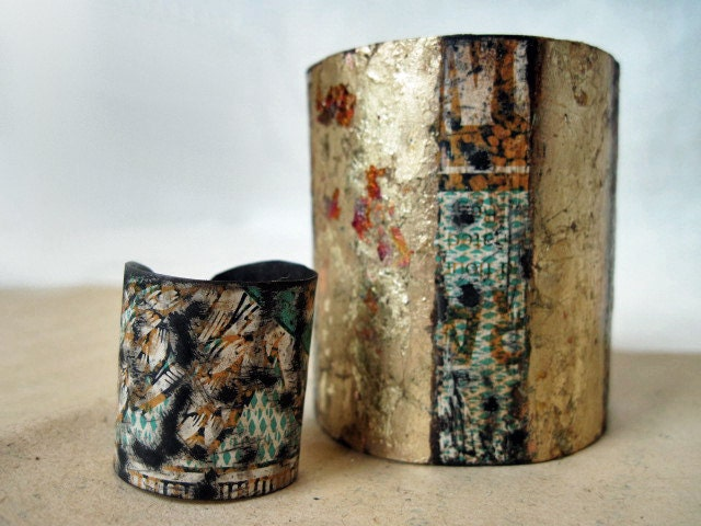 The Describable Universe. Cuff and Ring Set. Recycled Rustic Biscuit Tin with Gold Gilding.