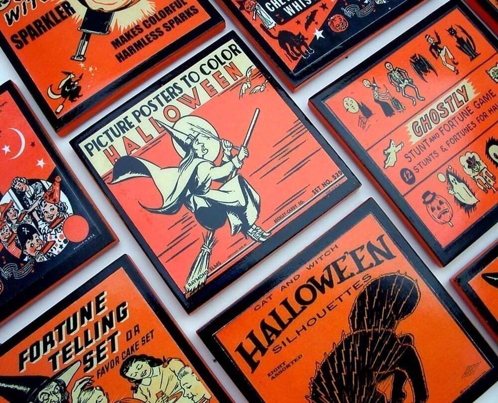Vintage Halloween Coaster Set