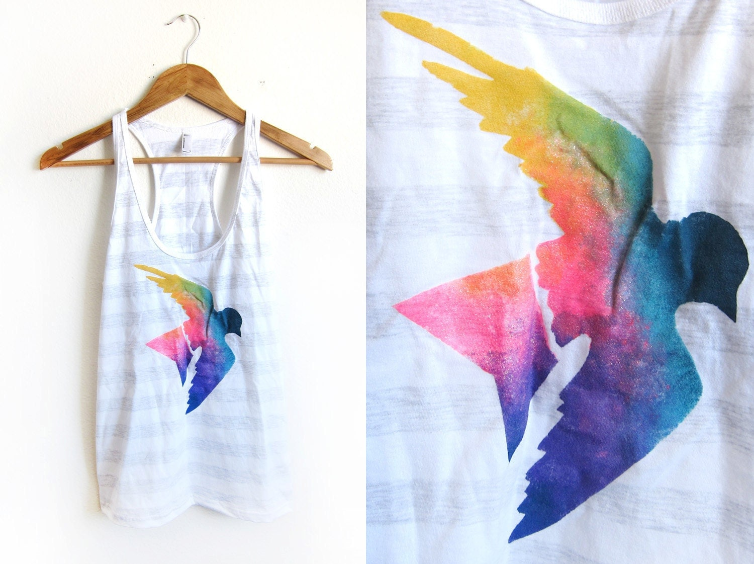 Splash Dyed HAND PAINTED Heather Striped Sparrow Swing Tank Top in Spectrum Rainbow