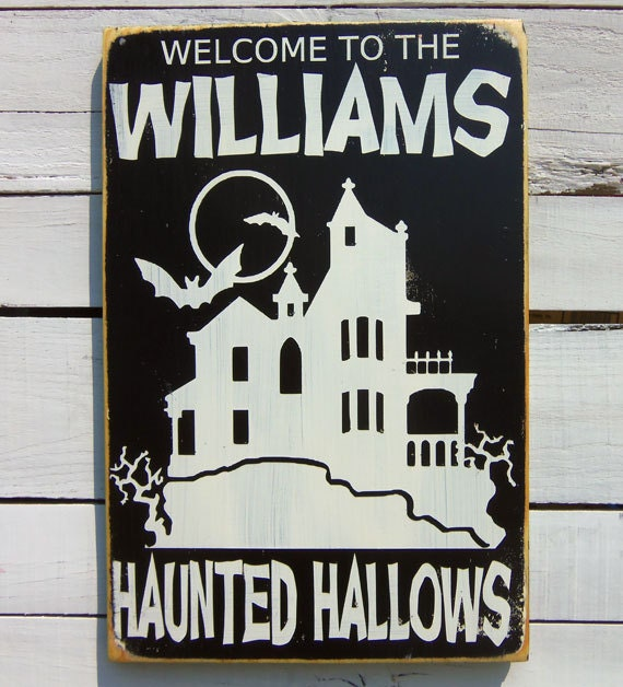 Personalized Halloween Decor -Haunted Hallows Typography Wood Sign - 13pumpkins