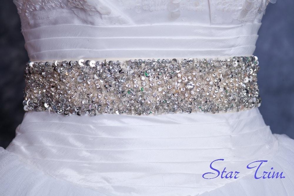 Niki Swarvoski rhinestone pearl bridal sash belt