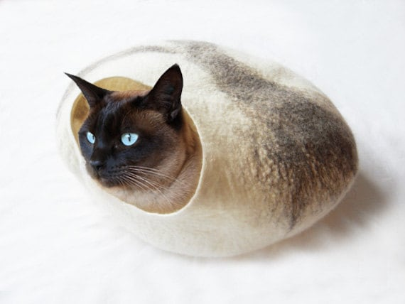 Cat Bed Cat Cave Cat House Felted Wool with FREE Cat Ball - Large, medium or small