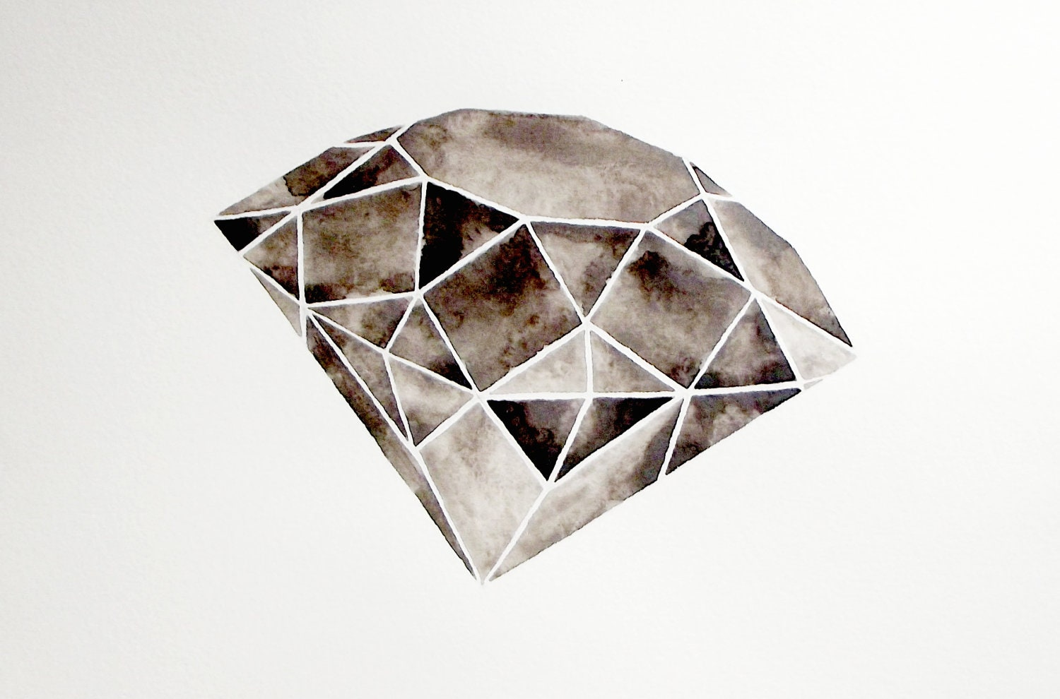 Geometric Diamond - Original Watercolor - GeometricInk