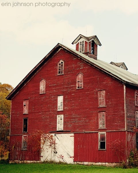 Red Home Decor - The Barn no.1 - Old Red Barn - 8x10 Fine Art Photography - old, rustic, farm, wood