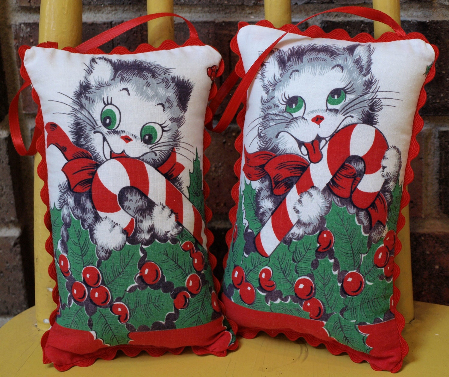 VINTAGE Fabric Christmas CATS Stuffed PILLOW Ornaments - Door Hangers - Set of 2