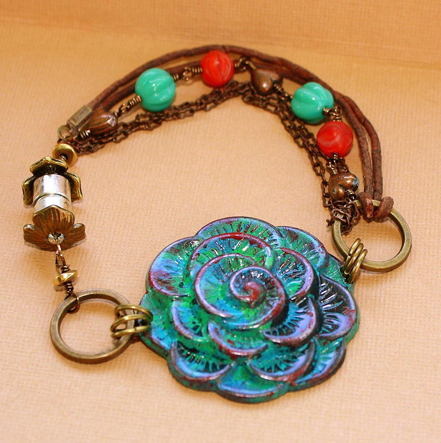 Patina Rose Bracelet leather chain czech glass magnetic clasp green red blue