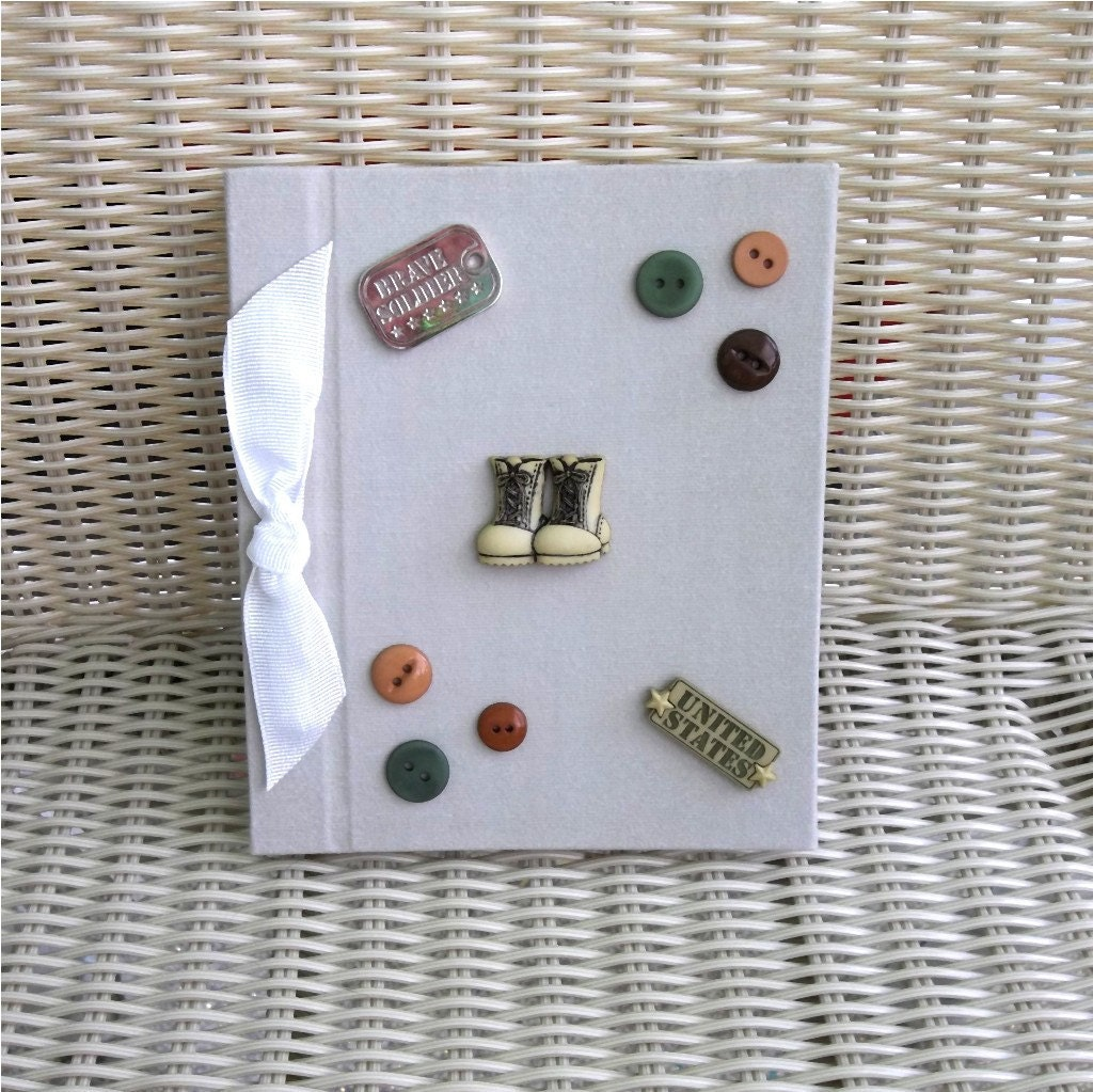 Beige Photo Album Military - Buttons, Brown, Dog Tags