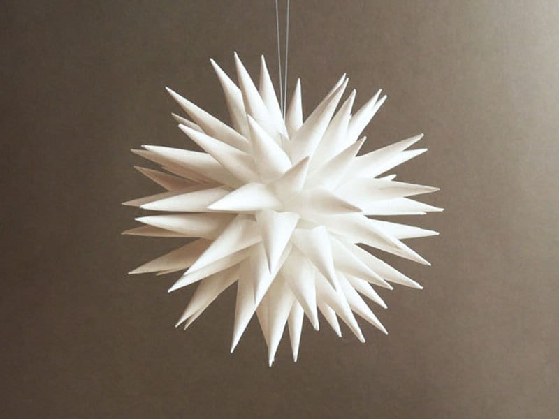 Polish Star, Christmas Tree Decoration, Holiday Ornament, White Paper, Star Urchin - 3 inch - Modern White