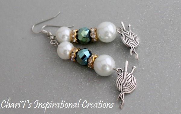 Green and white Glass pearl Crochet  Knitter Earrings
