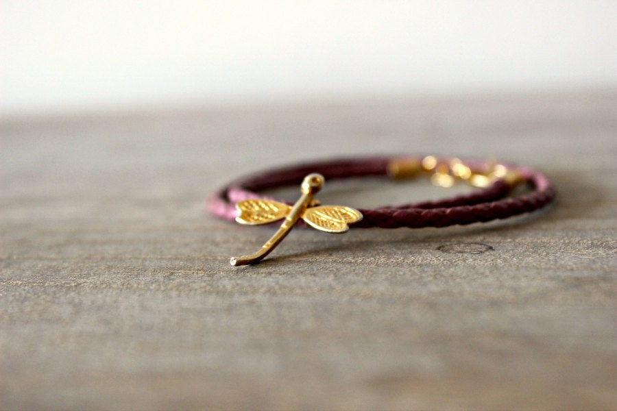Lavender Leather Bracelet with Dragonfly Pendant - LemkaB