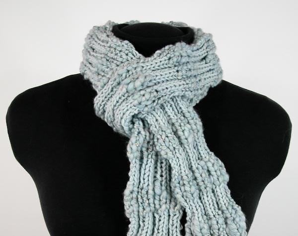 Skinny Hand-Knit Scarf with Handspun Merino Yarn in Robin Egg Blue - Item 1160 - KnotChaCha