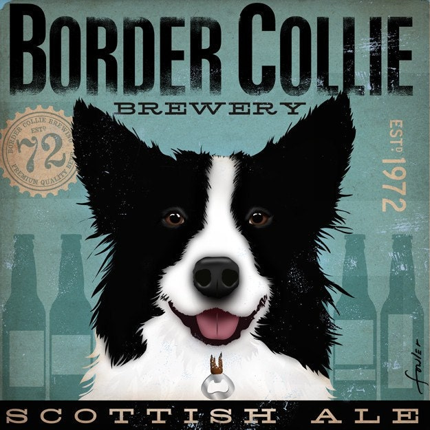 Border Collie Brewery artwork original graphic illustration signed archival artists print giclee 12 x 12 - geministudio