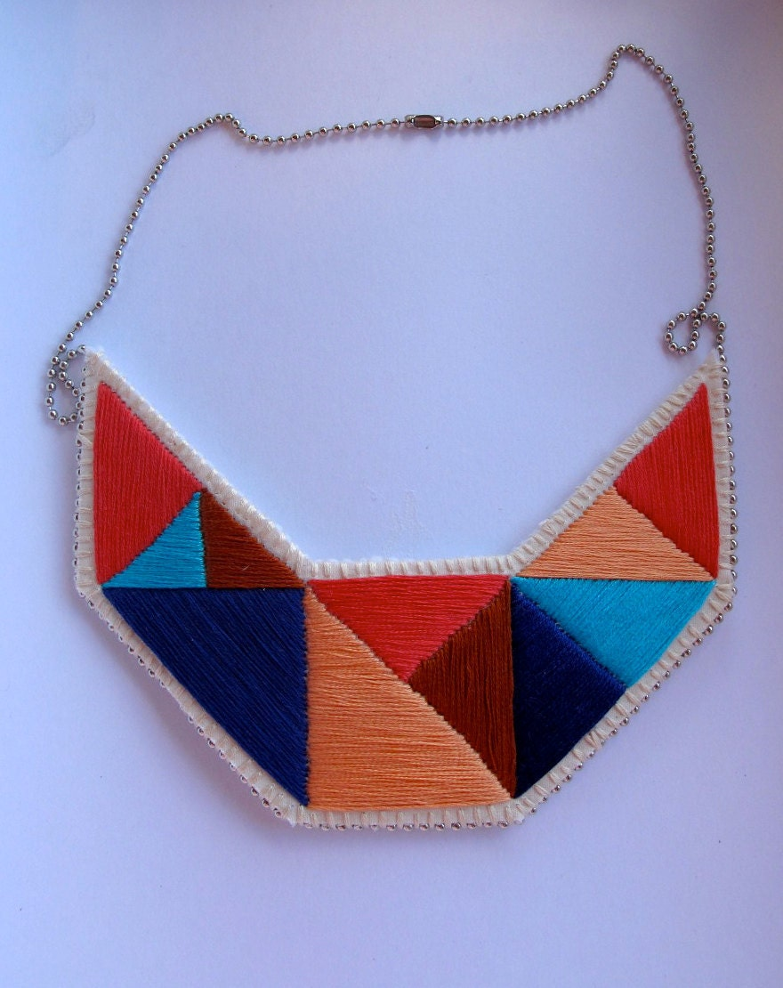 Summer fashion bib necklace embroidered geometric triangles in beautiful blues coral peach and tan colors  dramatic design