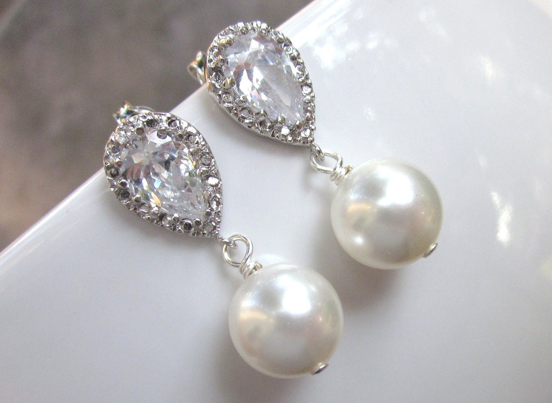 Rhinestone pearl earrings, wedding bridal jewelry, cubic zirconia crystal drops, matching bridesmaid jewelry - Persephone