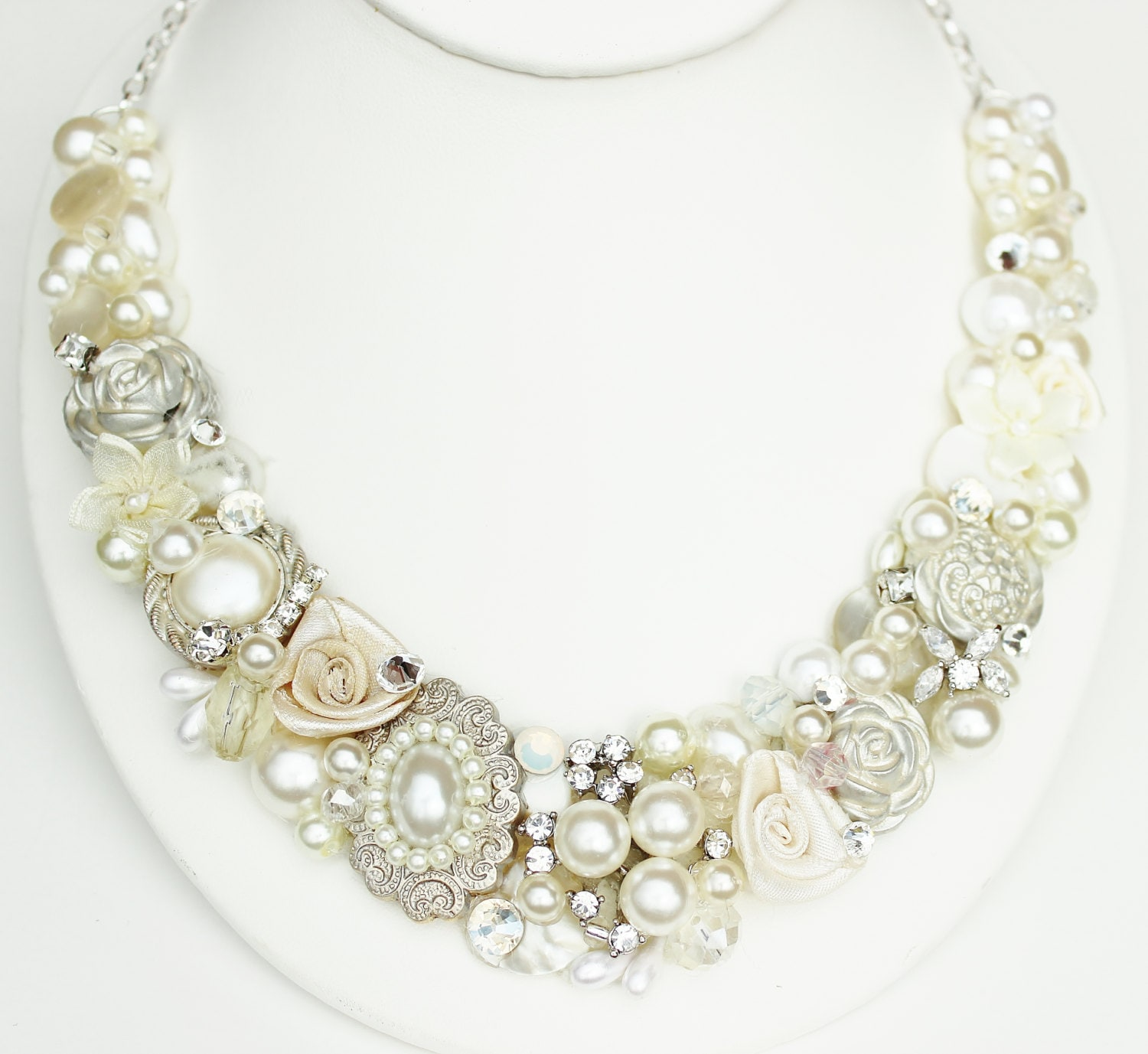 Bridal Statement Necklace- Rhinestones & Pearl Bib- Vintage Inspired Bib Necklace- Wedding Accessories- Floral necklace