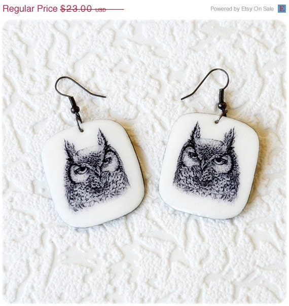 ON SALE Owl Earrings graphic arts - Free shipping Etsy - IrenkaR