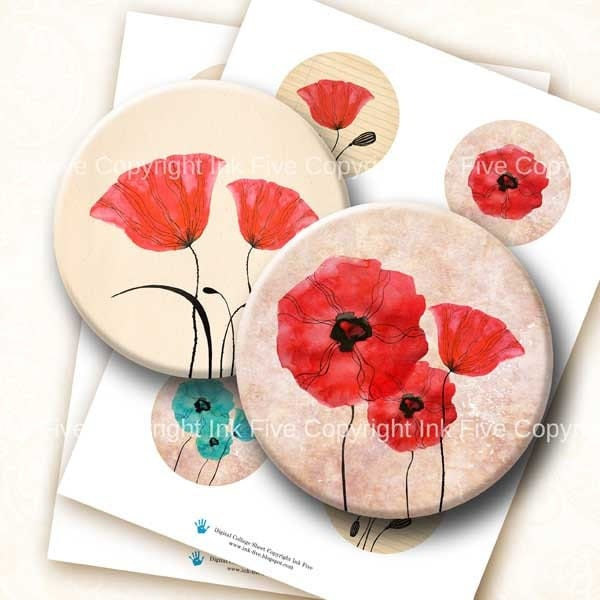 2.5 inch circles Field of Poppy Flowers digital collage sheet images for 2.25 inch pocket mirrors. Floral download graphics. Big rounds.