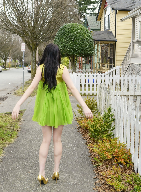 green 60s micro dress