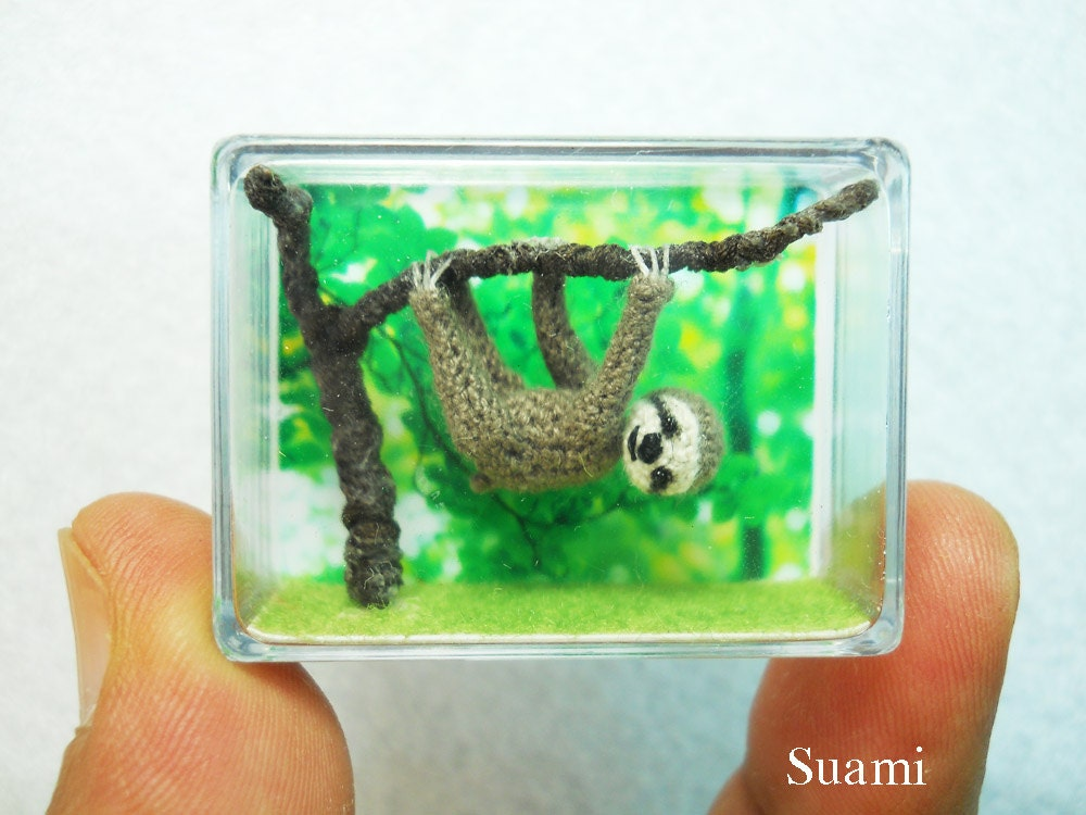 Miniature Grey Sloth  - Micro Crochet Dollhouse Animals - Made To Order