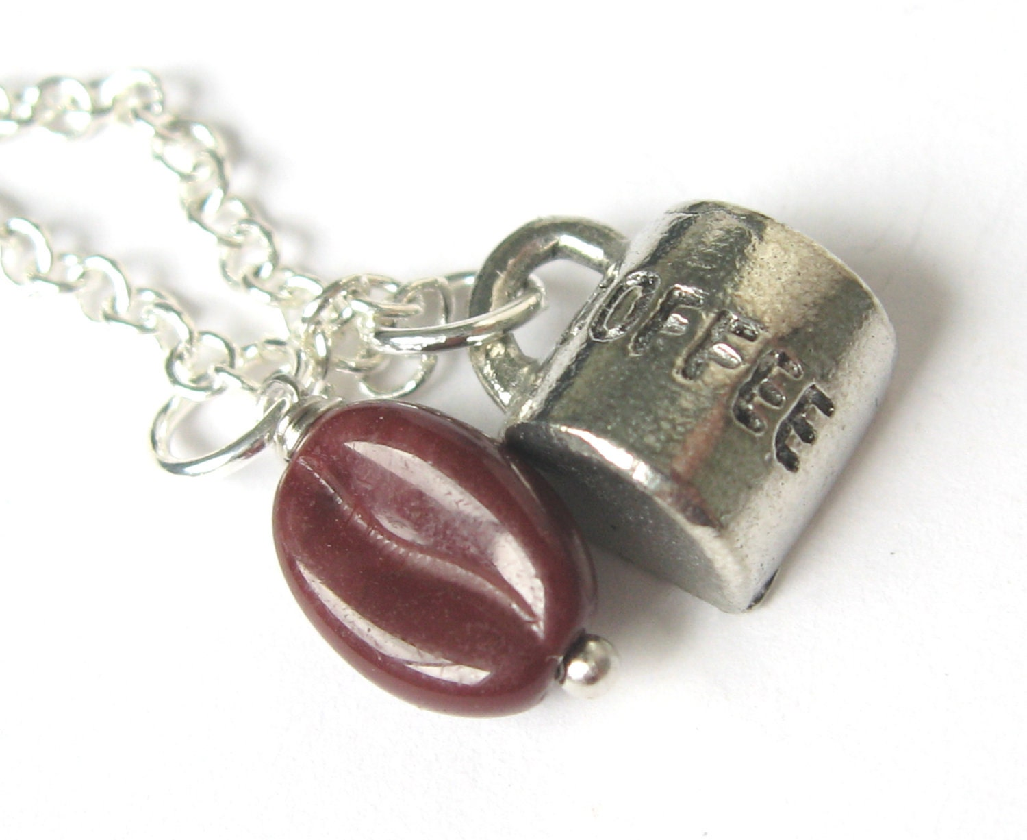 Coffee Bean Necklace - Cup Charm