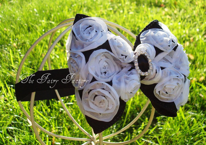 Черно-белая атласная Розетка волосы бант с Кристалл центр Stretchy Черный головная повязка или зажим для волос - Вирджиния - Vintage Вдохновленный