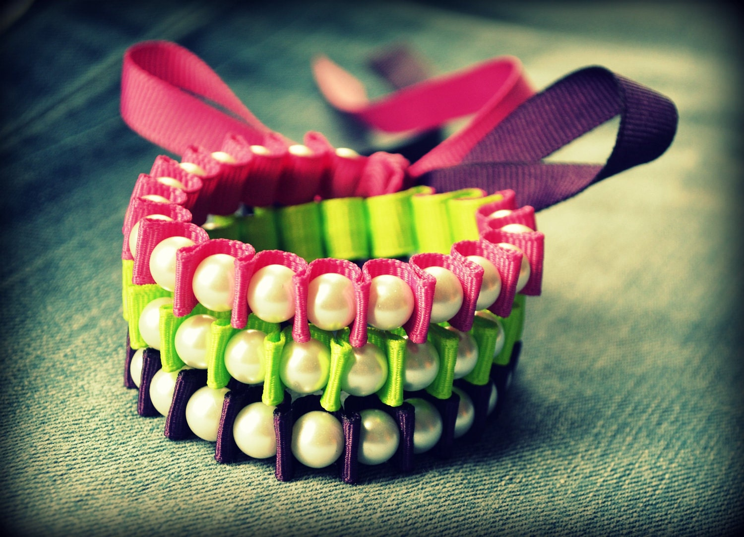 Wrap Bracelet - The Valerie Colorblock Wrap Bracelet - in Wildberry, Lypple , and Grape