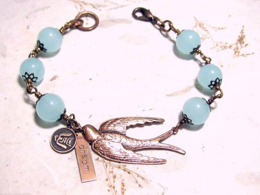 Free to Dream in Peace Soaring Bird Affirmation Bracelet