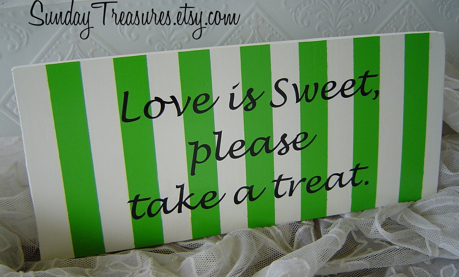 Lime Green Love is Sweet please take a treat Sign Wedding Candy Dessert Table.  Valentines  3 day Ship Pick Colors 700 Items in My Shop