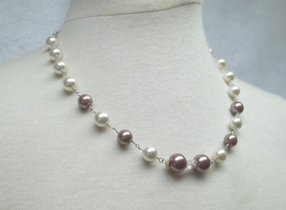 Reserved cream pearl necklace  sterling silver AB rondelle mauve pearls evening elegant  Sweet Delish