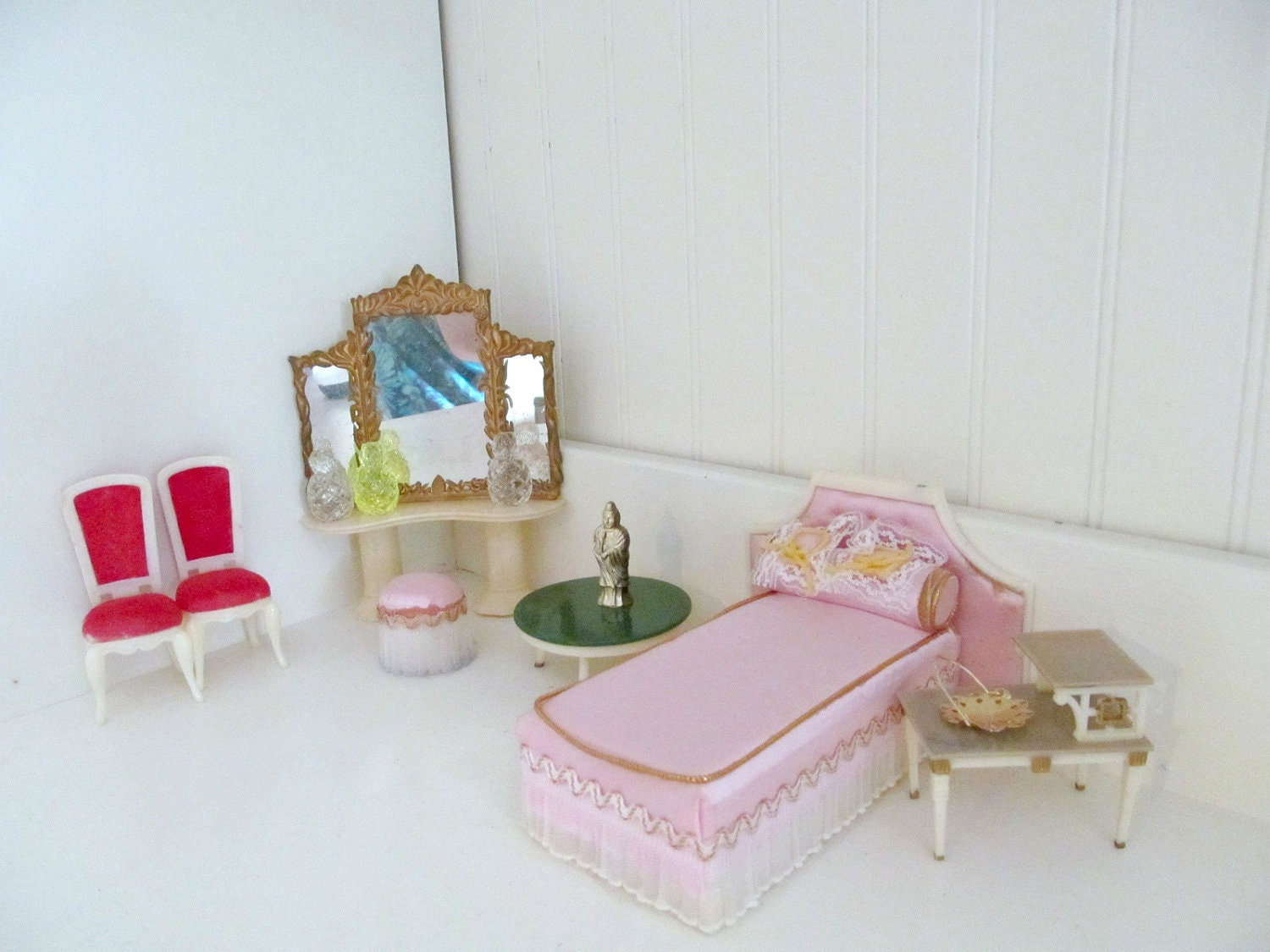 Vintage Redbox Petite Princess Ideal Type Dollhouse Furniture 1960s Miniature Plastic Dollhouse
