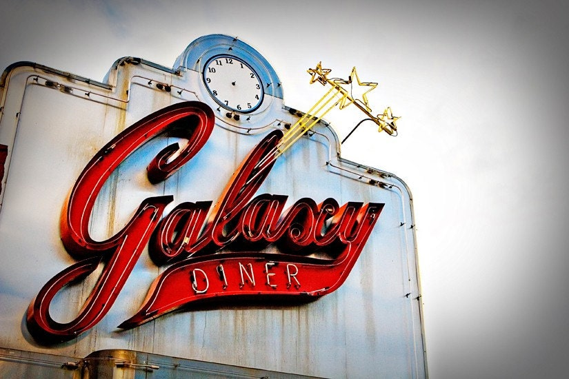 Route 66 Galaxy Diner Vintage Neon Sign - 8X12 Fine Art Photograph